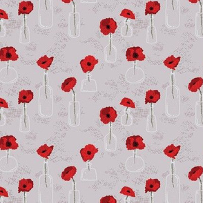 Red Poppy in Vases