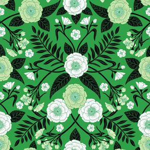 Green, Black & White Floral Pattern