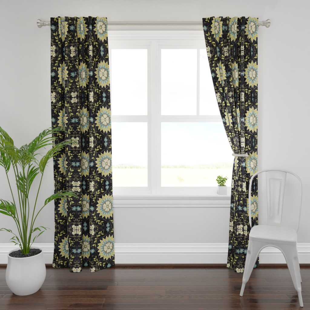 Plymouth Curtain Panel featuring Turquoise, Lime and Cream florals on Black by maria_pezzano