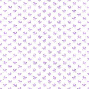 Micro Carousel Horses Pattern in Lavender Watercolor on White