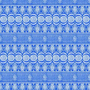 Maximalist Jeweled Stripe in White & Blue (Small Scale)