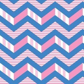 Pink blue stripes chevron