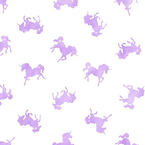 Ditsy Unicorn Pattern in Lavender Watercolor on White