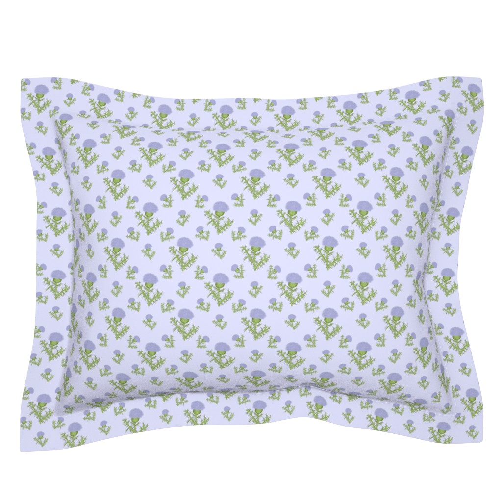 Sebright Pillow Sham featuring Prickly Scotch Thistle Small Print by karwilbedesigns
