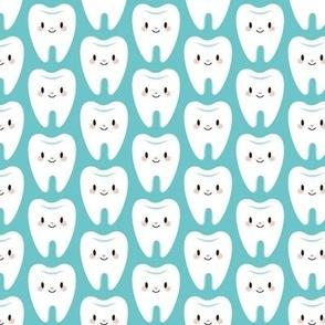 Smaller molar teeth on blue