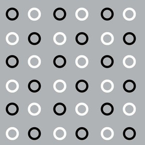 White and Black circles on grey