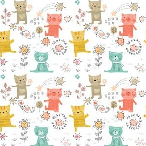 Cats Playing Among Sunflowers