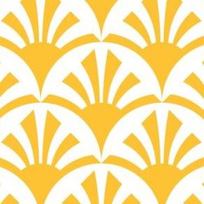 Geometric Pattern: Deco Sunset: Yellow/White