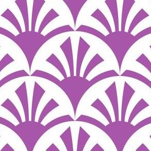 Geometric Pattern: Deco Sunset: Purple/White
