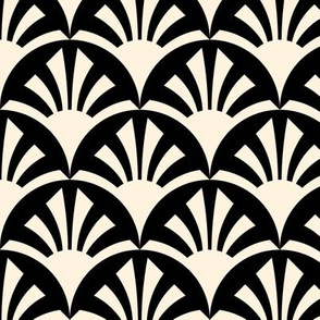 Geometric Pattern: Deco Sunset: Cream/Black
