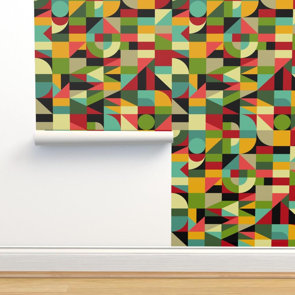 Isobar Durable Wallpaper featuring Bauhaus style inspired mosaic by ksanask