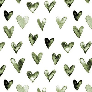 Watercolor Hearts // Olive