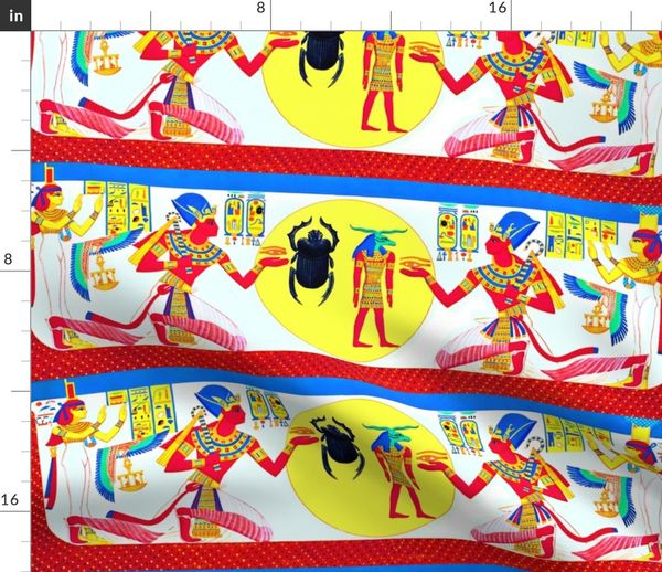 Fabric by the Yard ancient egypt egyptian pharaoh Sun Ra gods goddesses  kings hieroglyphics Isis wings scarab beetles eyes horus offerings Ankh