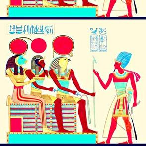 ancient egypt egyptian pharaoh gods goddesses Sekhmet Sun Ra Amun Similar Horus kings hieroglyphics falcons heads birds Ankh lions animals colorful men red blue yellow Ramses tribal royalty crown
