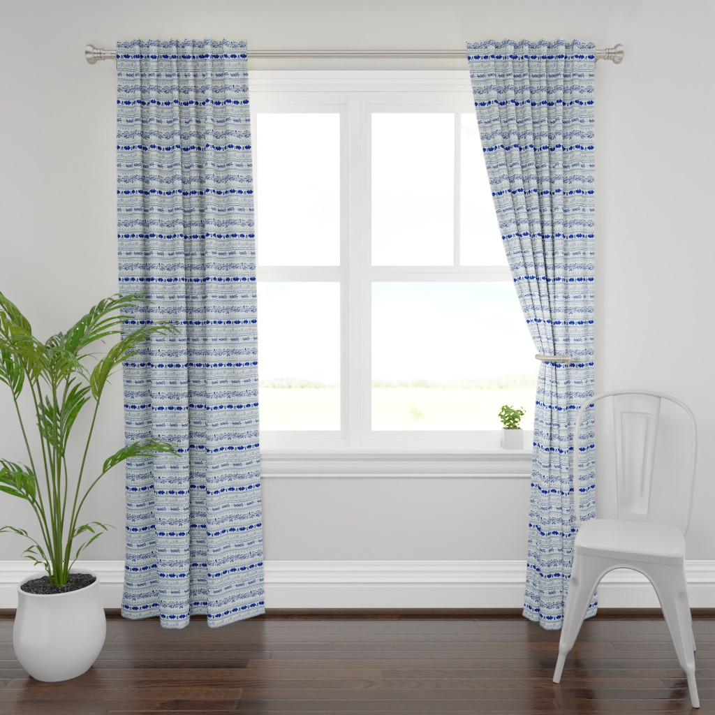 Plymouth Curtain Panel featuring Folk Art stripe floral and leafes by denesannadesign