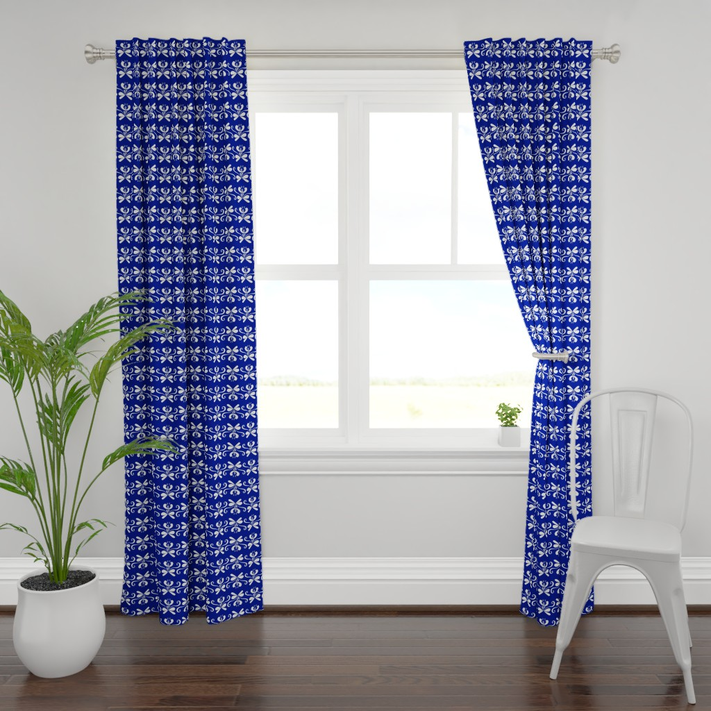 Plymouth Curtain Panel featuring folk art floral stripe blue by denesannadesign