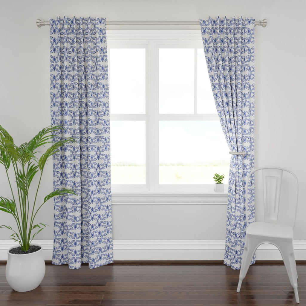 Plymouth Curtain Panel featuring flok art tulips blue by denesannadesign