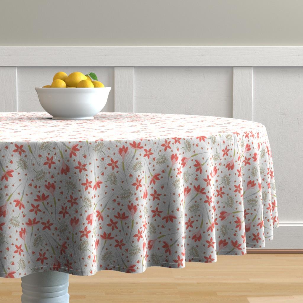 Malay Round Tablecloth featuring Crocuses by denesannadesign