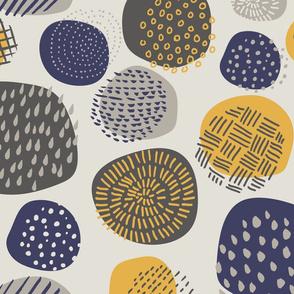 Abstract Circles in Gray + Mustard