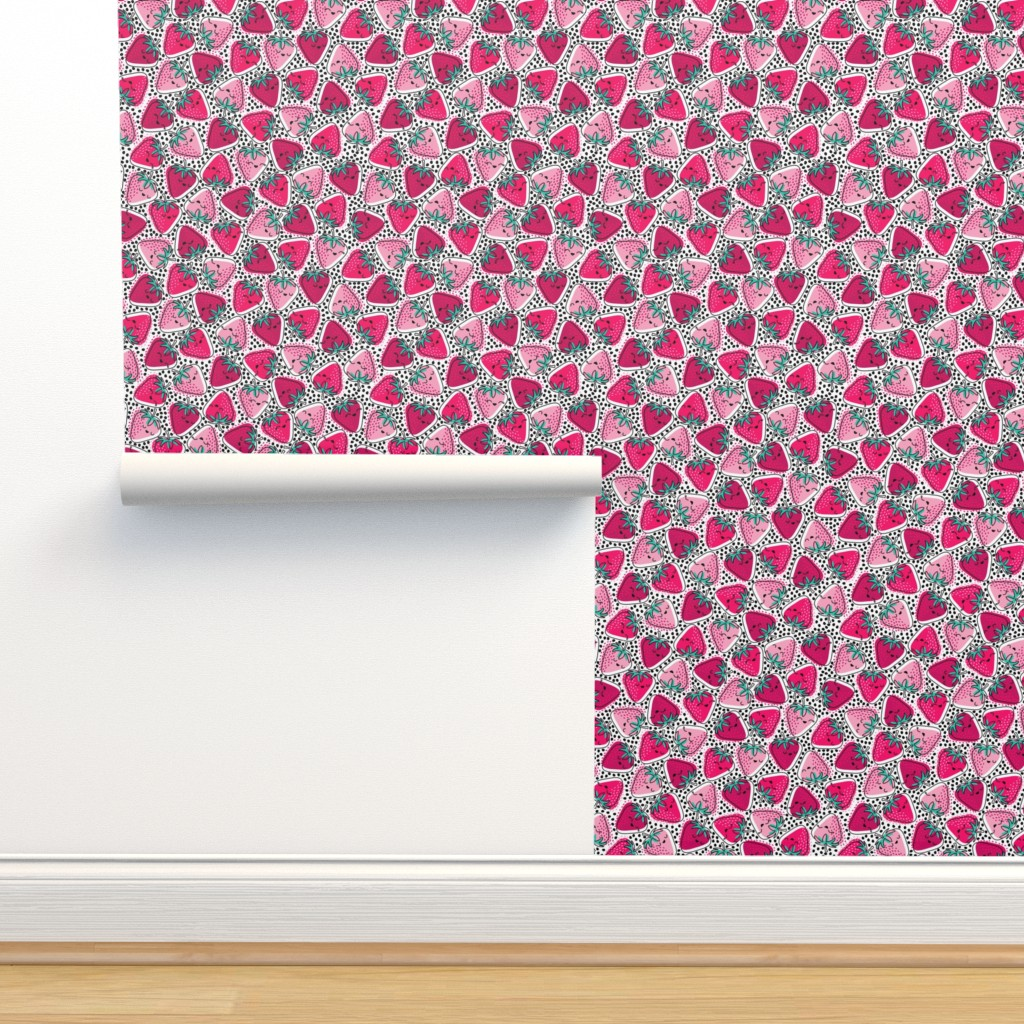 Isobar Durable Wallpaper featuring Sweet Strawberries - Ditsy - Medium by nanshizzle