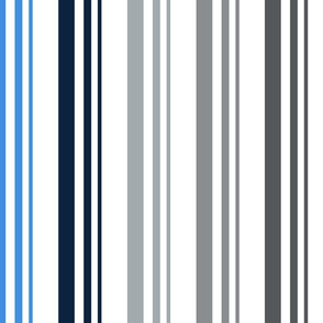 The Red the Blue the Navy and the Gray: 5-Color Graduated Stripes on White