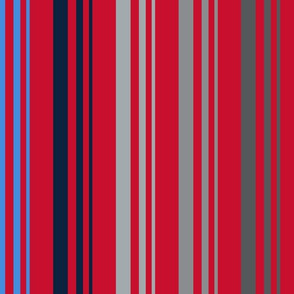 The Red the Blue the Navy and the Grays: 5-Color Graduated Stripes on Red