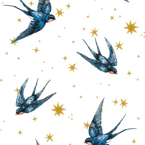 8 inch swallow birds in stars on white