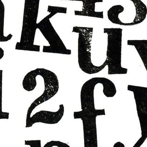 large scale stamped alphabet - black on white