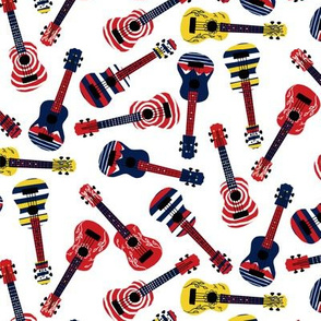 Bright Ukuleles tossed pattern on white