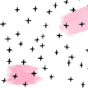 Pink brushstrokes + black crosses