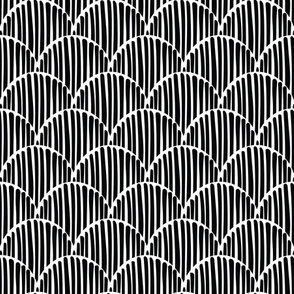 black and white abstract doodle fishscale