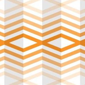 Geometric Pattern: Chevron Cascade: White/Orange
