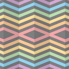 Geometric Pattern: Chevron Cascade: Grey/Rainbow Pastel