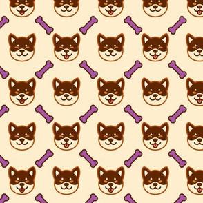 Brown Shiba Inu with Purple Bone