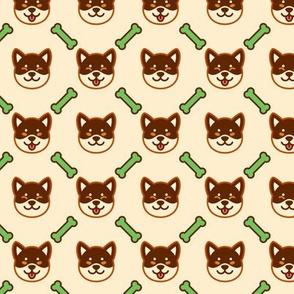 Brown Shiba Inu with Green Bone