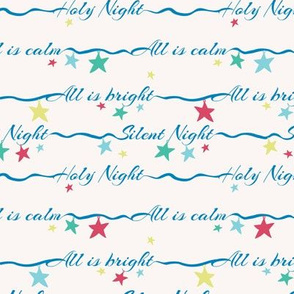 silent night lettering with stars