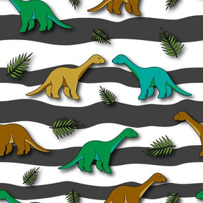 Brown and green Long Neck Dinos - 1100252s