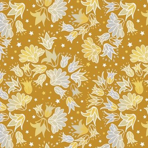Silver and gold flok ditsy with stars