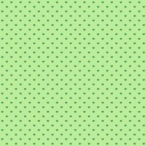 Green polka hearts