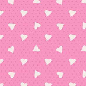 lovely hearts on pink dots