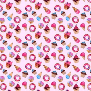 Sweets on pink • tiny scale • watercolor ice creams, cup cakes and donuts