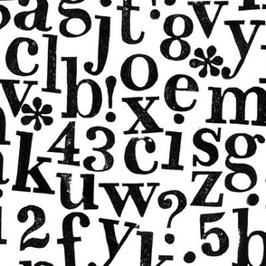 stamped alphabet - black on white