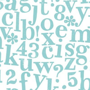 stamped alphabet - aqua