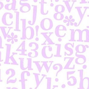 stamped alphabet - lilac