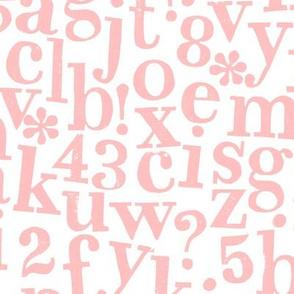 stamped alphabet - blush pink