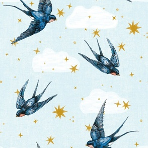 8 inch swallow birds in stars and cloud : gender neutral nursery large scale hand drawn bird