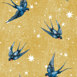 8 inch swallow birds in stars on Gold : Mustard