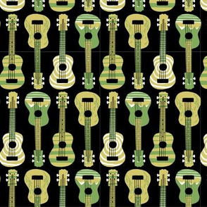 Green Ukuleles on Black