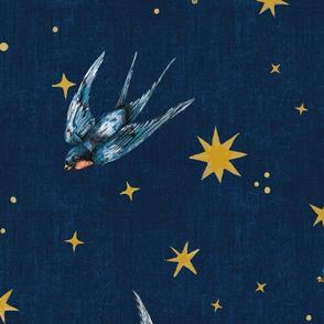 8 inch swallow birds in stars on Midnight blue :