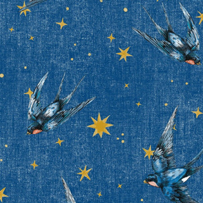 8 inch swallow birds and stars on distressed french blue , Jumbo, Large scale, wallpaper, home decor, kids, nursery, night sky, astrology, constellation, magical stars